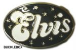 Elvis Black and White Oval Belt Buckle + display stand. Code AD2